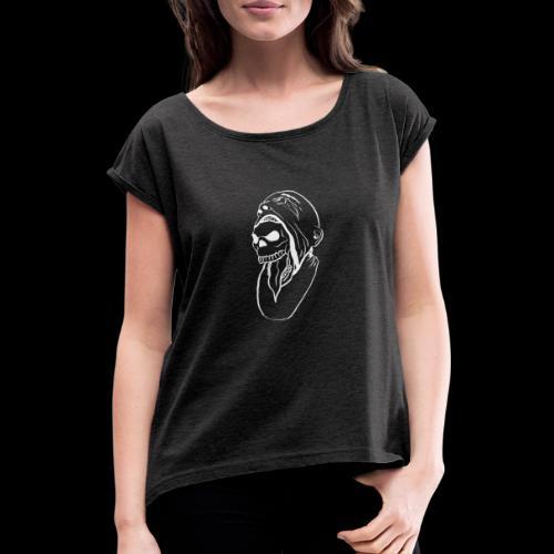 skullface - Frauen T-Shirt mit gerollten Ärmeln