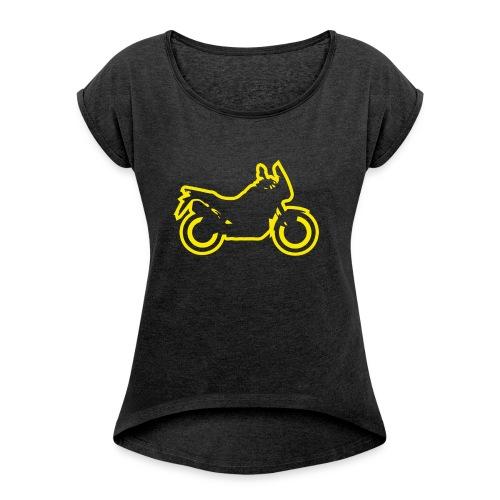 at symbolik gelb - Frauen T-Shirt mit gerollten Ärmeln