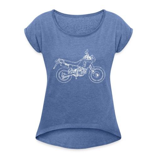 NX line wit - Vrouwen T-shirt met opgerolde mouwen