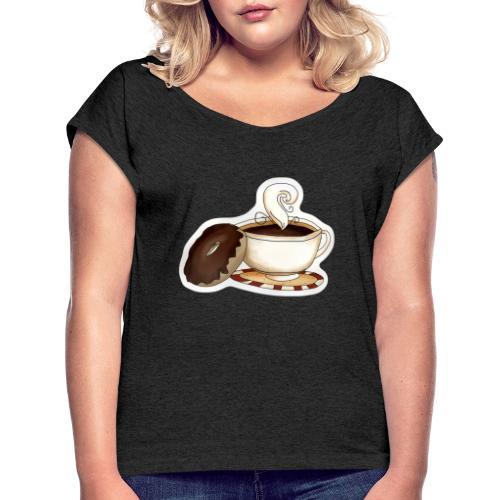 Kaffee und Donut - Frauen T-Shirt mit gerollten Ärmeln