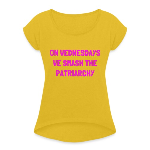 SMASH THE PATRIARCHY - Dame T-shirt med rulleærmer