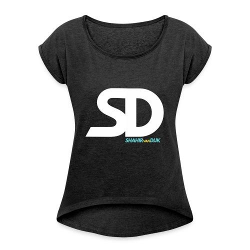 T-SHIRT-DESIGN-png - Vrouwen T-shirt met opgerolde mouwen
