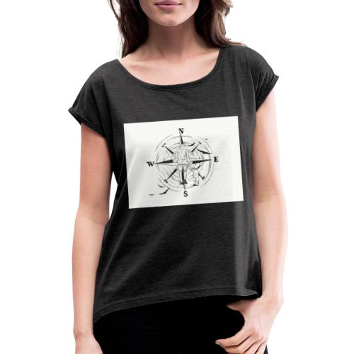 Kompass des Lebens - Frauen T-Shirt mit gerollten Ärmeln