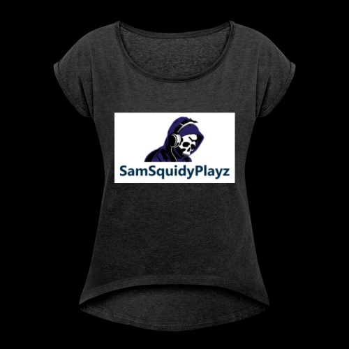 SamSquidyplayz skeleton - Women's T-Shirt with rolled up sleeves