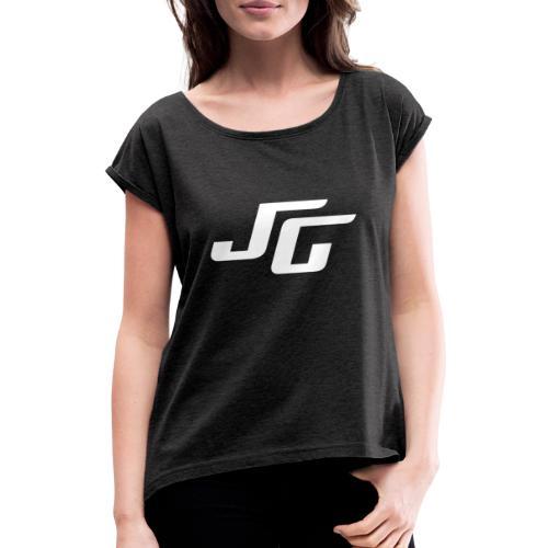 JG Logo weiss - Frauen T-Shirt mit gerollten Ärmeln