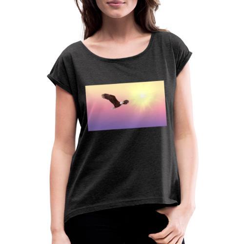 bald eagle 521492 1920 - Camiseta con manga enrollada mujer