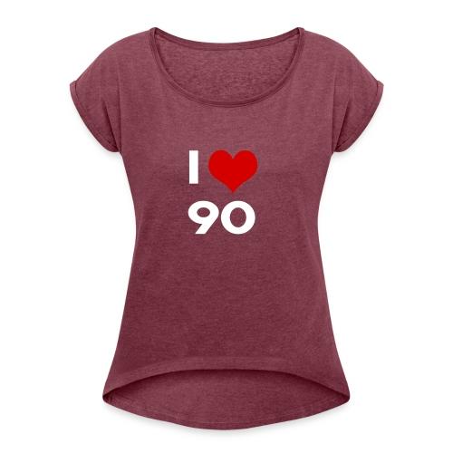 I love 90 - Maglietta da donna con risvolti