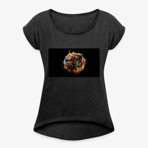 Flower Unverse - Frauen T-Shirt mit gerollten Ärmeln