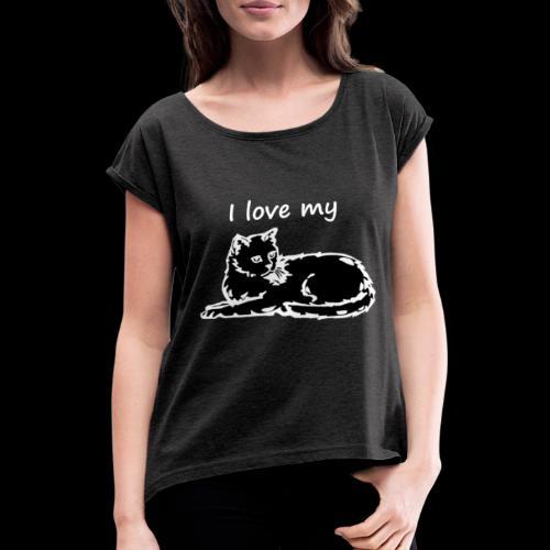 katzelove png - Frauen T-Shirt mit gerollten Ärmeln