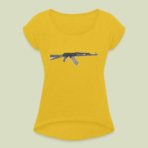AK - Naisten T-paita, jossa rullatut hihat
