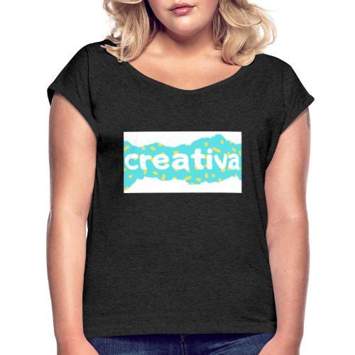Creativa - Camiseta con manga enrollada mujer