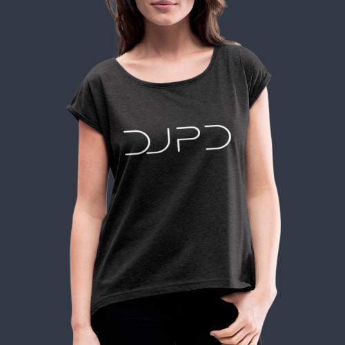 DJ PD white - Frauen T-Shirt mit gerollten Ärmeln