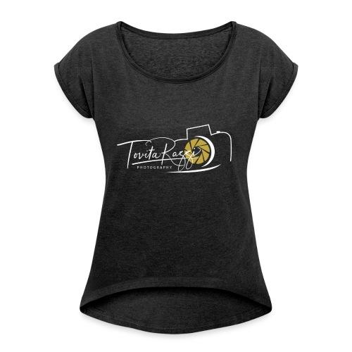 Tovita Razzi Hvit logo - T-skjorte med rulleermer for kvinner