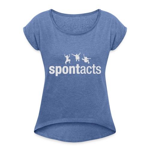spontacts_Logo_weiss - Frauen T-Shirt mit gerollten Ärmeln