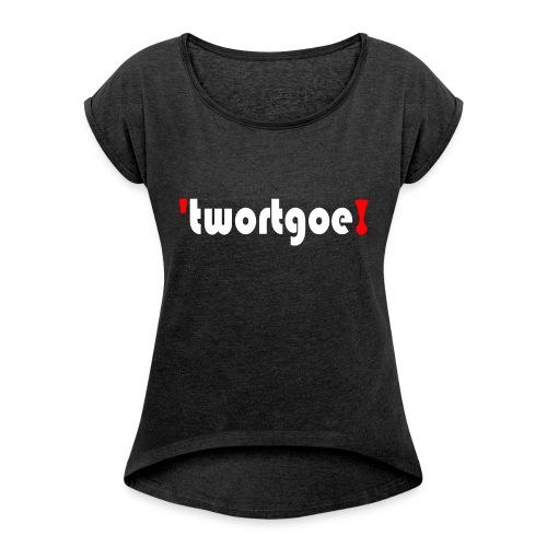 logo_wit - Vrouwen T-shirt met opgerolde mouwen