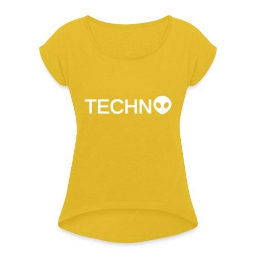 TECHNO3 - T-shirt med upprullade ärmar dam