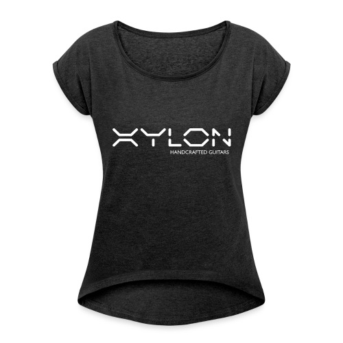 Xylon Handcrafted Guitars (name only logo white) - Women's T-Shirt with rolled up sleeves