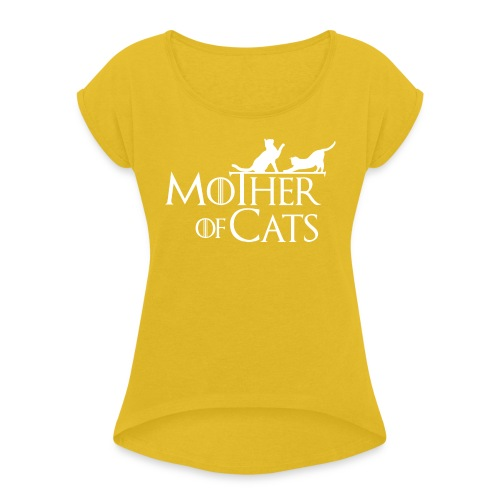 1 texto gatos eng w png - Camiseta con manga enrollada mujer