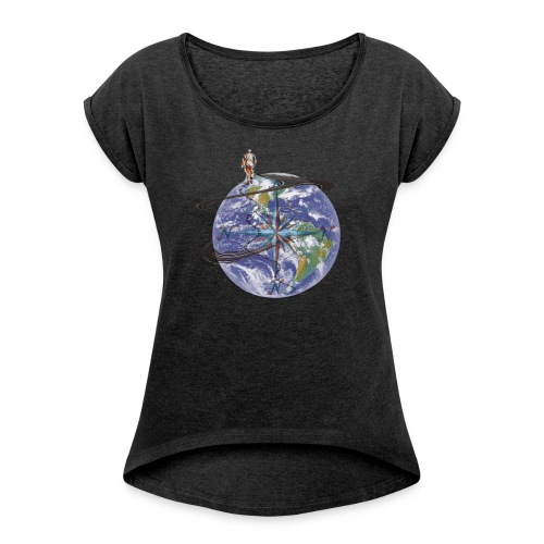 homme terre expression - T-shirt à manches retroussées Femme