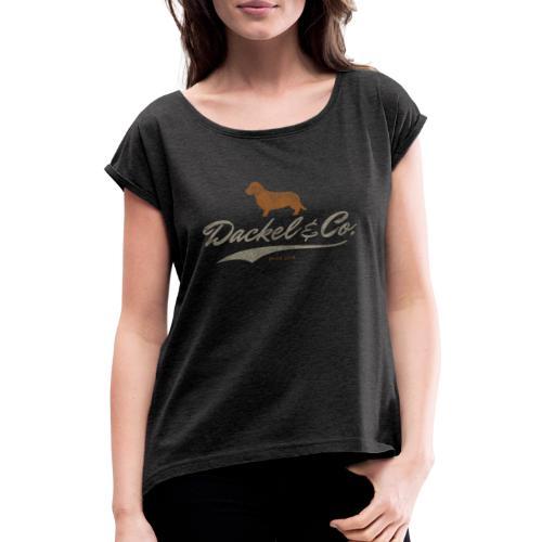 Dackel Co since 2014 Vintage Design Geschenkidee 1 - Frauen T-Shirt mit gerollten Ärmeln