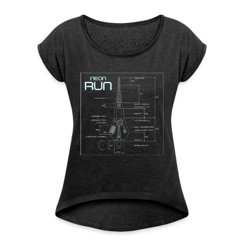 NeonRun - Vrouwen T-shirt met opgerolde mouwen