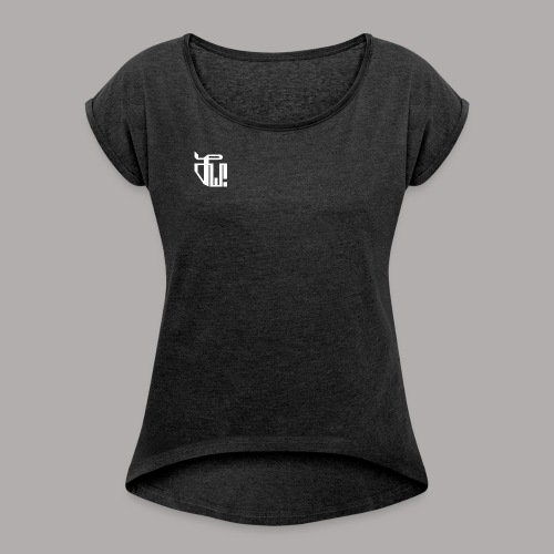 Zirkel, weiss (vorne) Zirkel, weiss (hinten) - Frauen T-Shirt mit gerollten Ärmeln