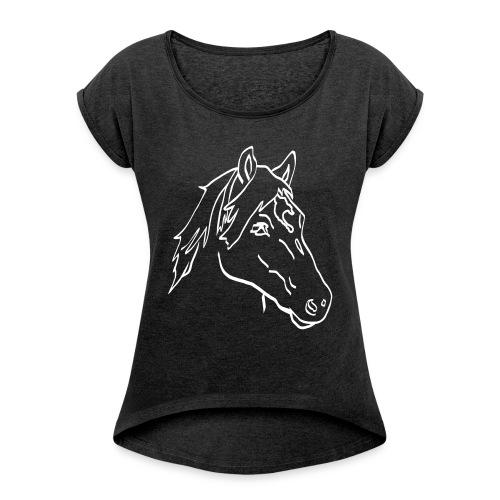 Haflinger Chiaro - Frauen T-Shirt mit gerollten Ärmeln