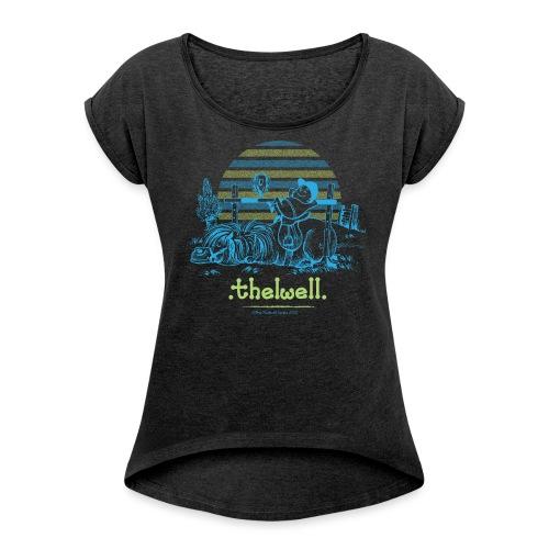 Thelwell Cartoon Pony Sieg - Frauen T-Shirt mit gerollten Ärmeln
