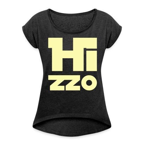 HIZZO_Star_light yellow - Frauen T-Shirt mit gerollten Ärmeln