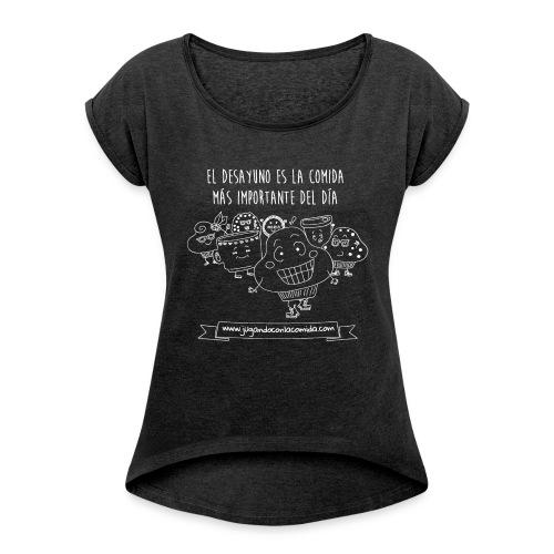 madalena white gif - Camiseta con manga enrollada mujer