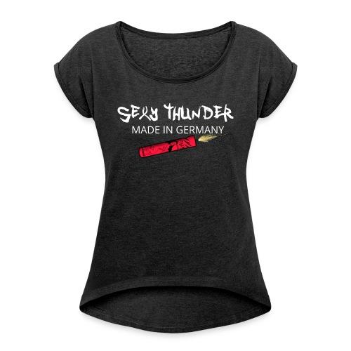 Silvester Feuerwerk Knaller - Frauen T-Shirt mit gerollten Ärmeln