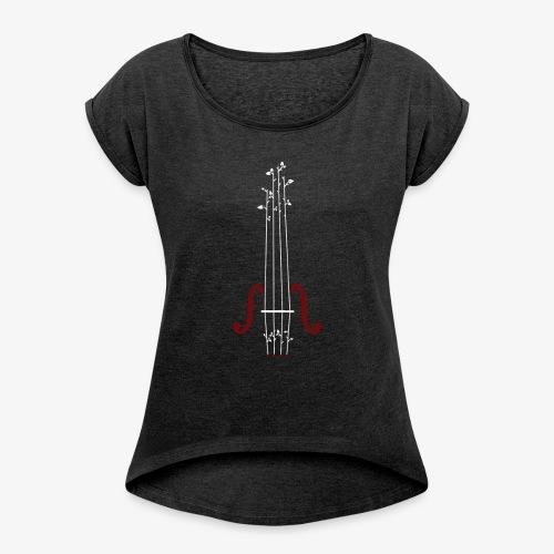 Viool Design - Vrouwen T-shirt met opgerolde mouwen