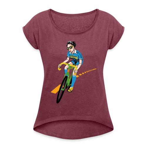 The Bicycle Girl - Frauen T-Shirt mit gerollten Ärmeln