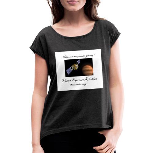 MerchVenus - T-shirt med upprullade ärmar dam