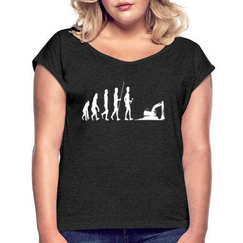 Evolotion des Baggers Arbeit Pilot Strassenbau - Frauen T-Shirt mit gerollten Ärmeln