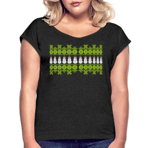 Norweger-Muster Winterfreude - Schneemann - Frauen T-Shirt mit gerollten Ärmeln