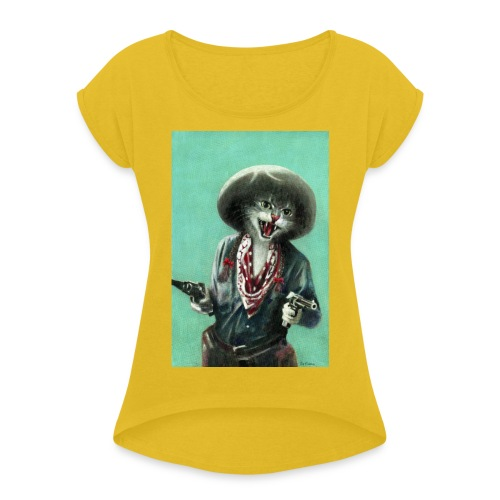 Vintage kitten Cow Girl - Women's T-Shirt with rolled up sleeves