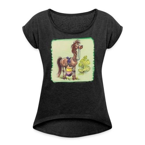 Thelwell Cartoon Reiter fällt runter - Frauen T-Shirt mit gerollten Ärmeln