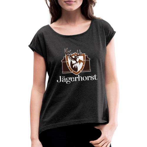 Jägerhorst Logo Weiss - Frauen T-Shirt mit gerollten Ärmeln