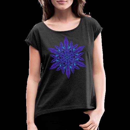 Schneeflocke II - Frauen T-Shirt mit gerollten Ärmeln