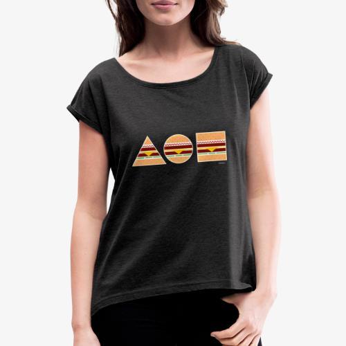 Graphic Burgers - Maglietta da donna con risvolti