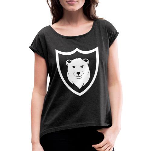 Baerspektivo Logo in weiß - Frauen T-Shirt mit gerollten Ärmeln