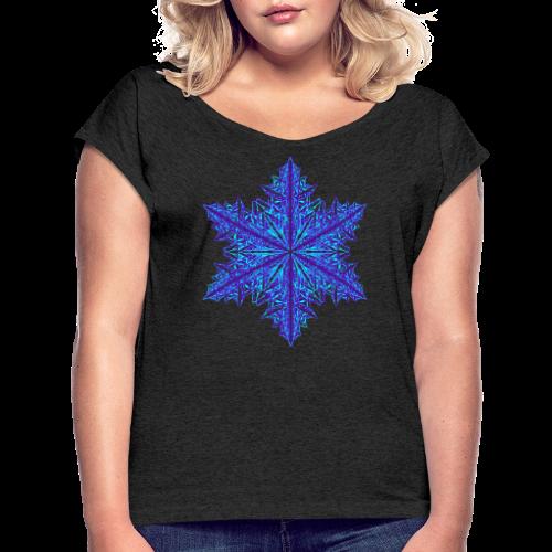 Schneeflocke III - Frauen T-Shirt mit gerollten Ärmeln