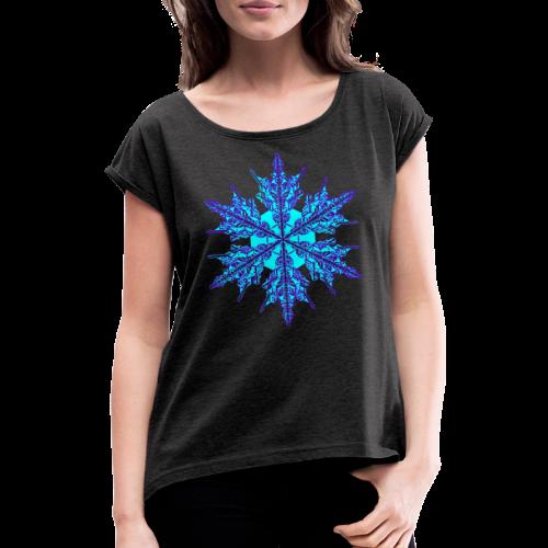 Schneeflocke IV - Frauen T-Shirt mit gerollten Ärmeln
