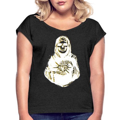 Santa Muerte I Weiss Gold - Frauen T-Shirt mit gerollten Ärmeln
