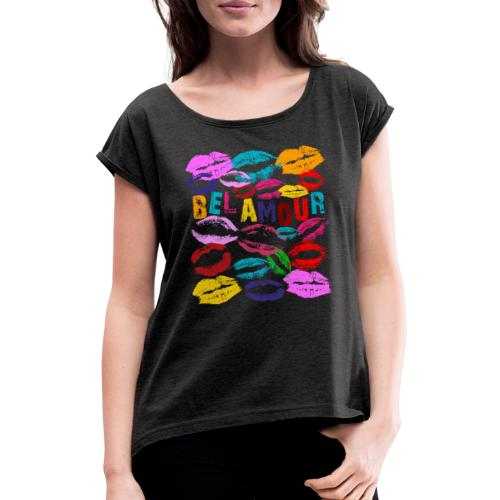 Bel Amour - T-shirt med upprullade ärmar dam