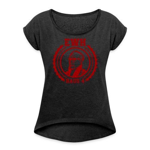 Egon Logo Rot2 - Frauen T-Shirt mit gerollten Ärmeln
