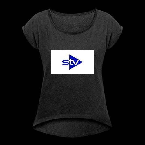 Skirä television - T-shirt med upprullade ärmar dam