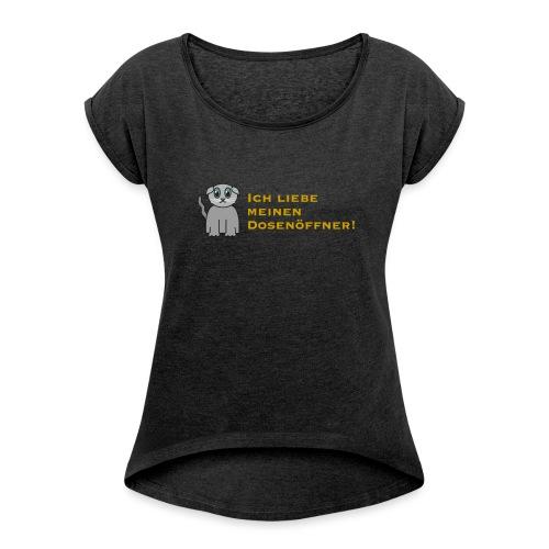 Süßes Kätzchen - Frauen T-Shirt mit gerollten Ärmeln