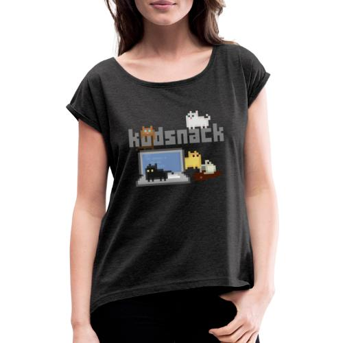 Kodsnack katter - mörk - T-shirt med upprullade ärmar dam